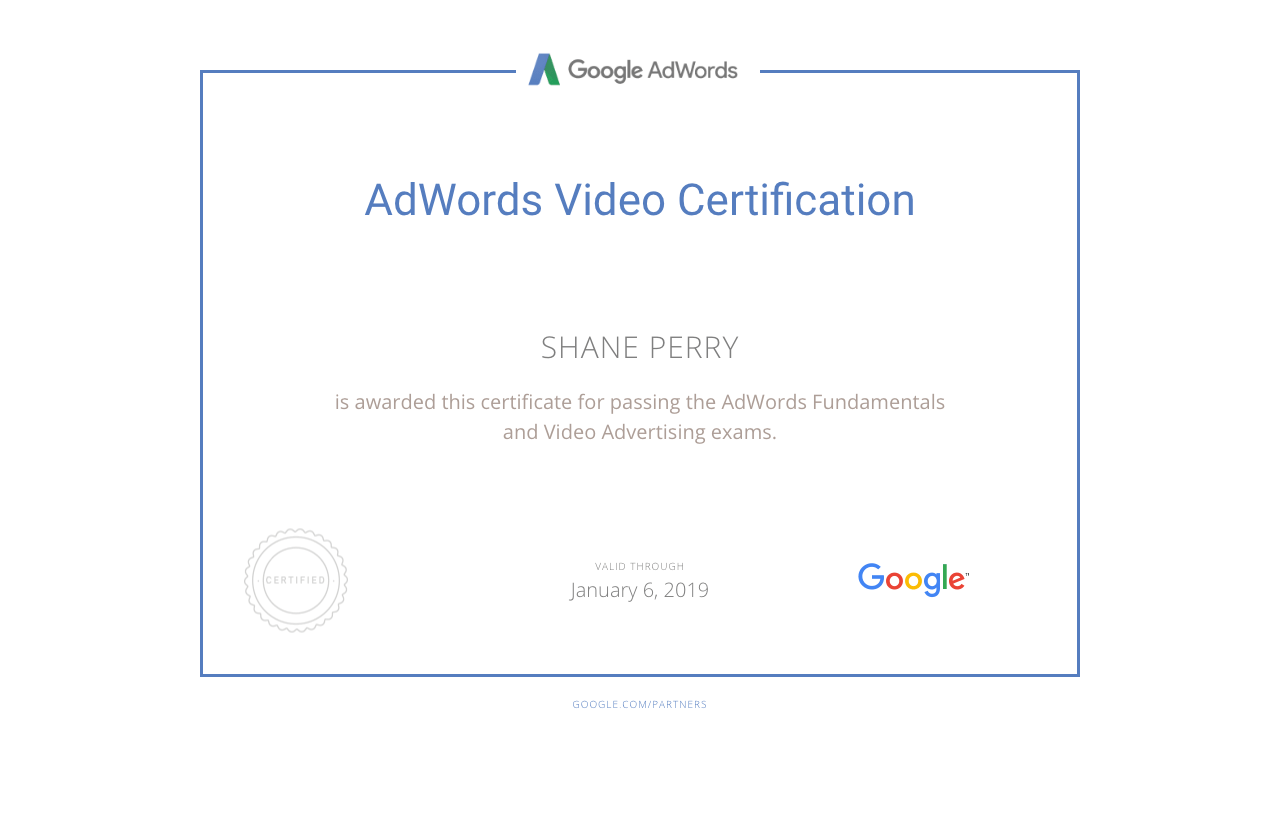 AdWords Video Certification, Shane Perry Marketing