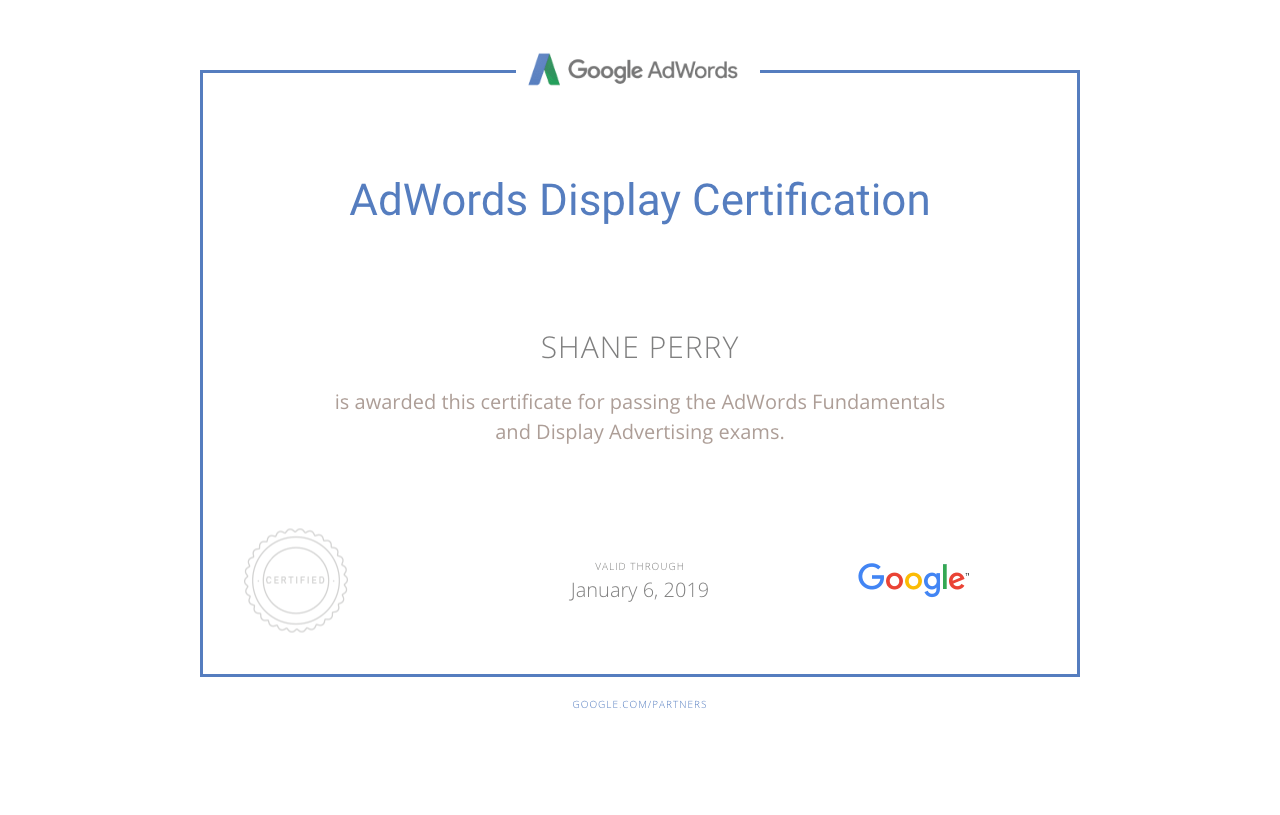 AdWords Display Certification, Shane Perry Marketing