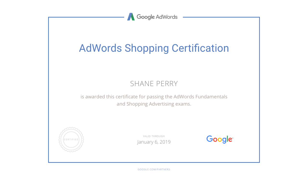 AdWords Shopping Certification, Shane Perry Marketing