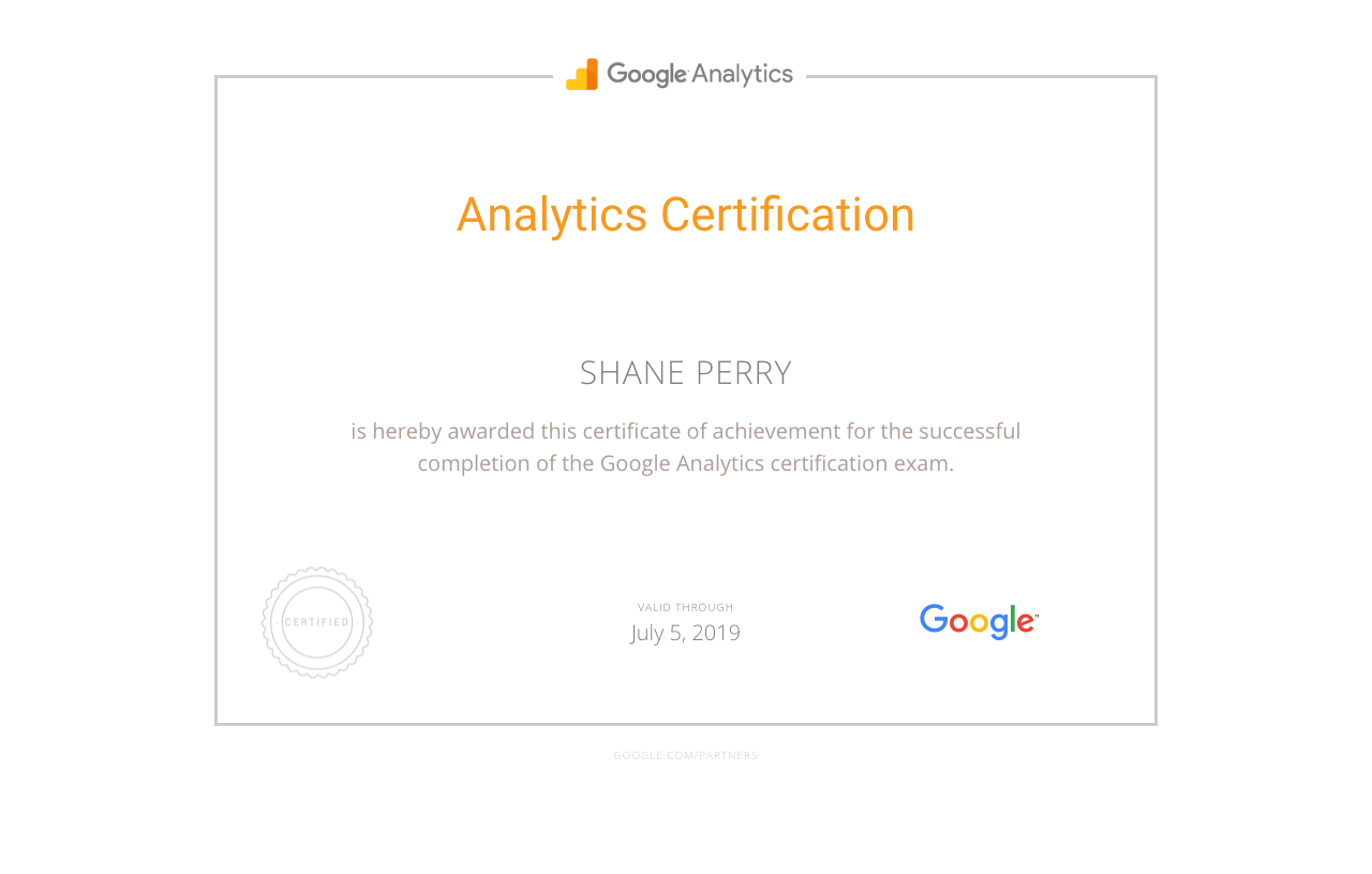 Google Analytics Certification, Shane Perry Marketing
