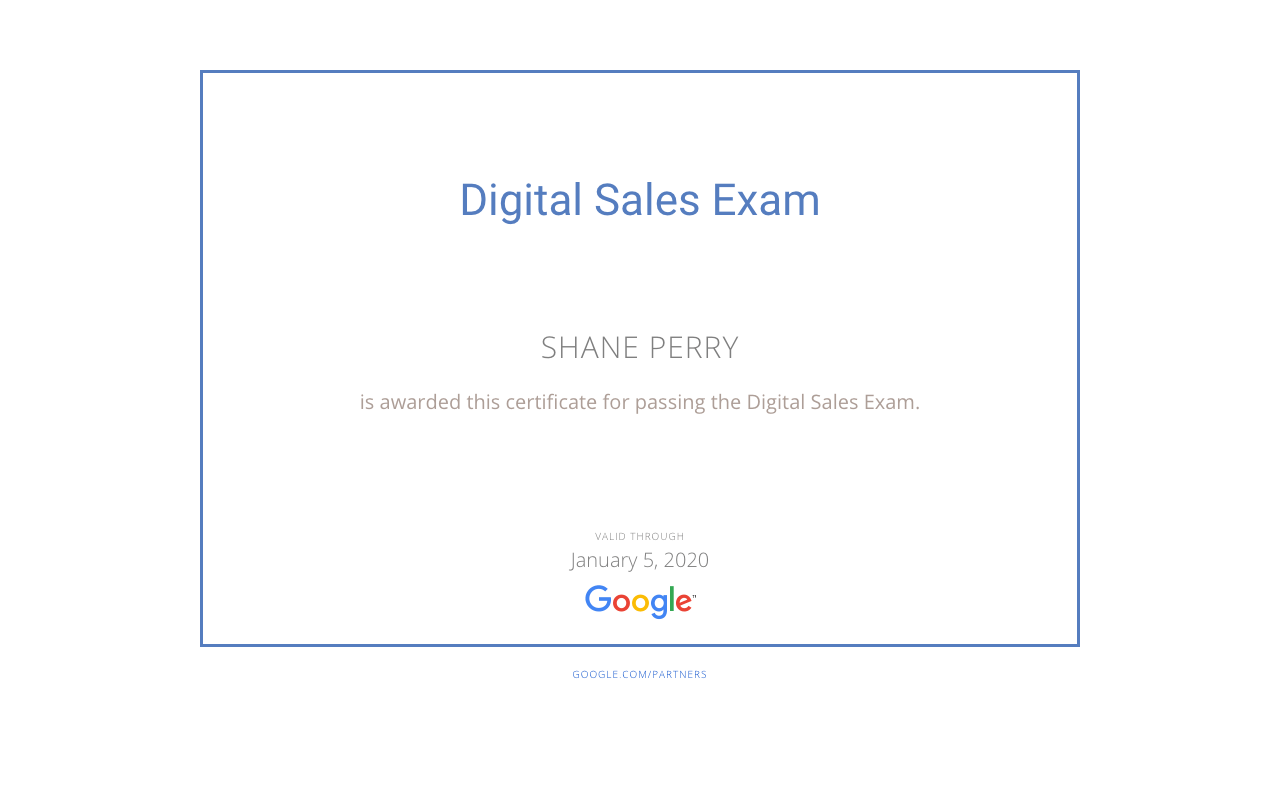 Digital Sales Exam, Shane Perry Marketing
